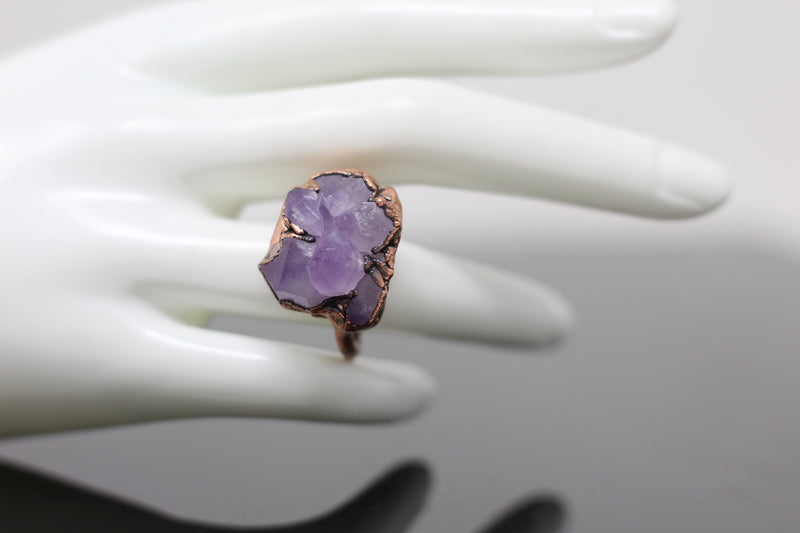 Elestial Amethyst Electroformed Ring (Size 6.5)