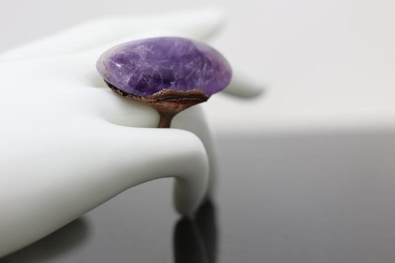 Amethyst Statement Electroformed Ring (Size 8)