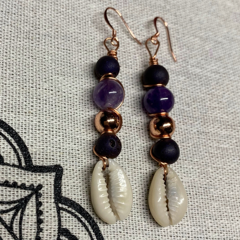 Amethyst & Druzy Agate with Cowrie Shell