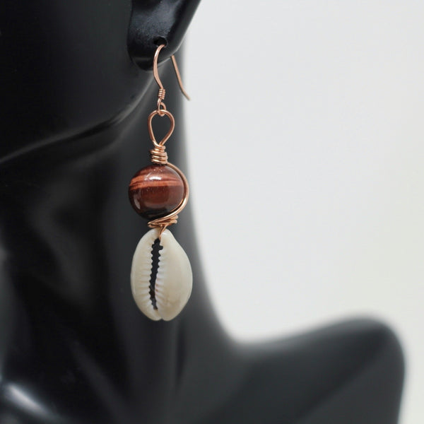 Copper Red Tiger Eye Cowrie (Pair)