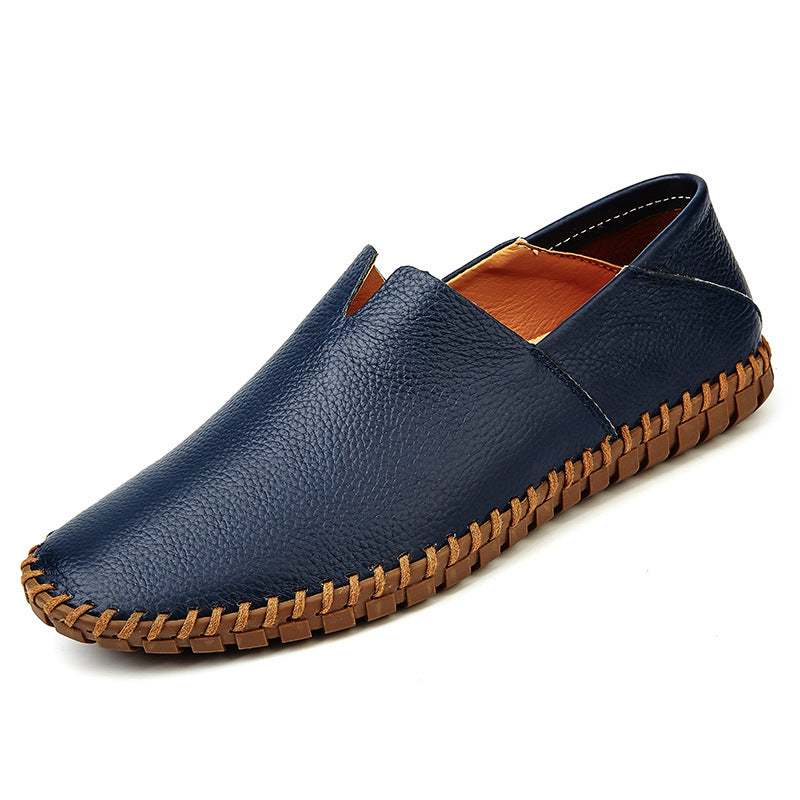 Fashion Handmade Leather Mens Slip On Loafers-man's shoes-carsoho.com-BLUE-38-carsoho