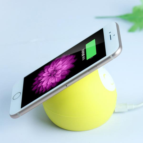 Silicone Smiling Face Wireless Charger-Phone Accessories-carsoho.com-YELLOW-carsoho