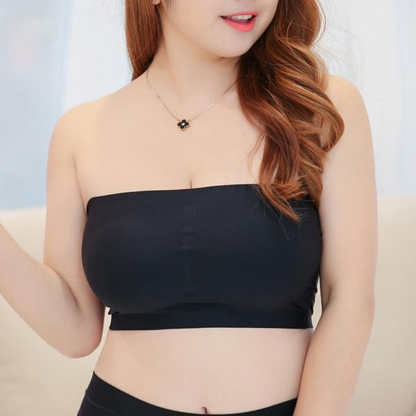 Milk Silk Bandeau Wireless Strapless Seamless Crop Bras-Clothing-Black-One Size-Romancci.com