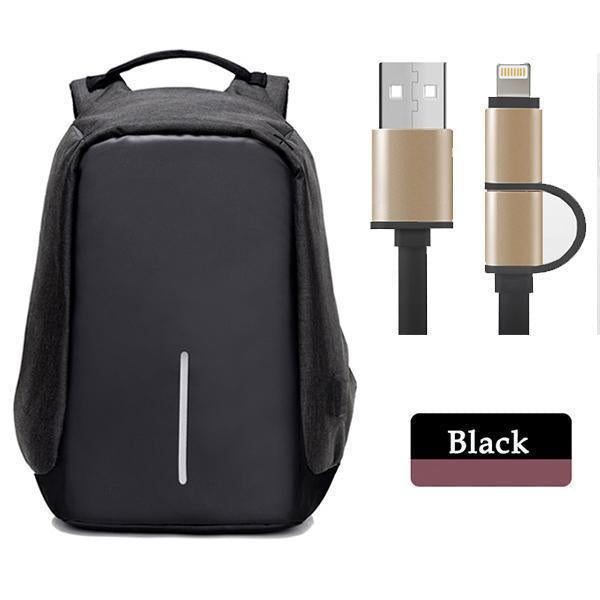 Multifunctional Anti-theft Backpack-Bags-Prime4Choice.com-Black Backpack+Black USB Cable-