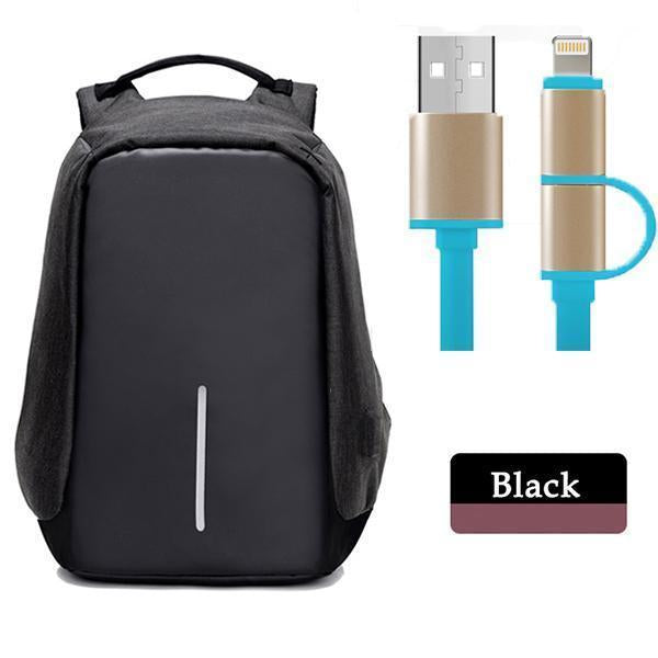 Multifunctional Anti-theft Backpack-Bags-Prime4Choice.com-Black Backpack+Blue USB Cable-