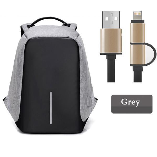 Multifunctional Anti-theft Backpack-Bags-Prime4Choice.com-Gray Backpack+Black USB Cable-