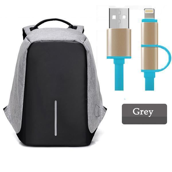 Multifunctional Anti-theft Backpack-Bags-Prime4Choice.com-Gray Backpack+Blue USB Cable-
