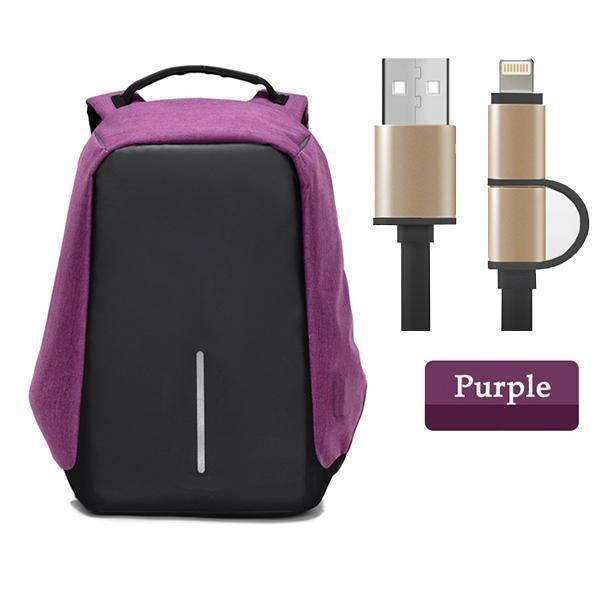 Multifunctional Anti-theft Backpack-Bags-Prime4Choice.com-Purple Backpack+Black USB Cable-