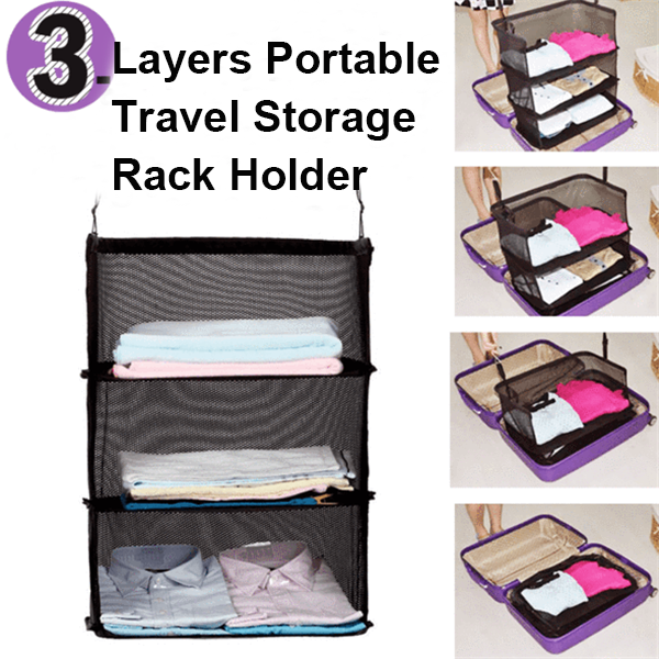 3 Layers Portable Travel Storage Rack Holder-Clothes & Accessories-unishouse.com-Unishouse