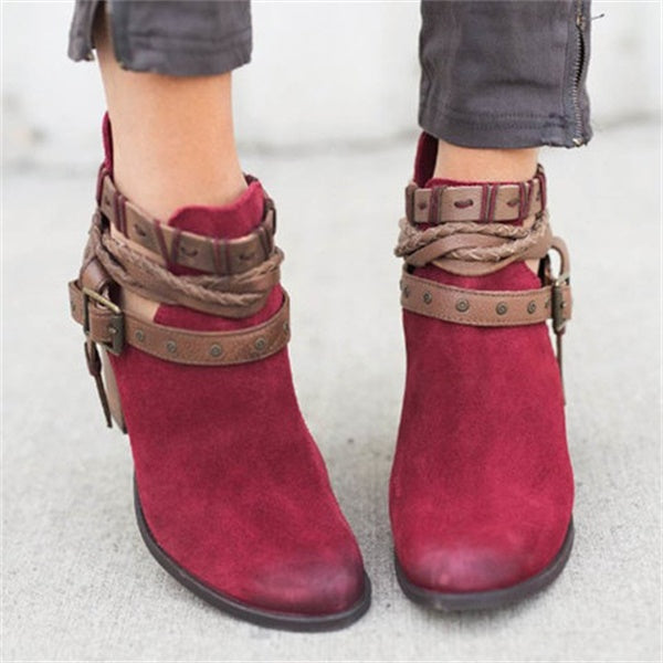 Women Flocking Adjustable Buckle Boots