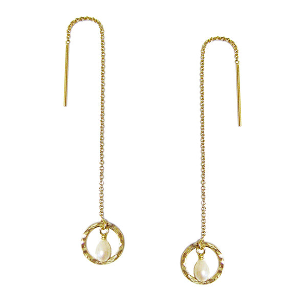 Laurelle Pearl Threader Earrings