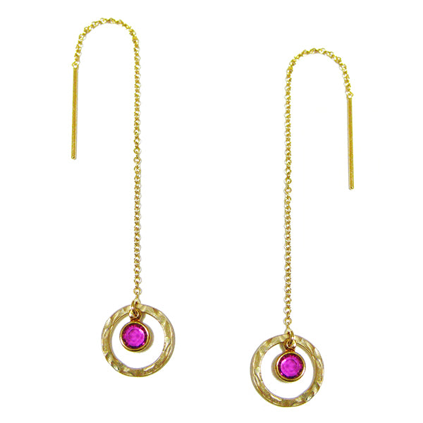 Laurelle Ruby Threader Earrings