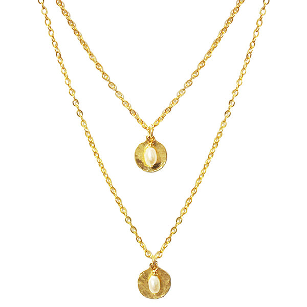 Lucia Double Pearl Disc Necklace