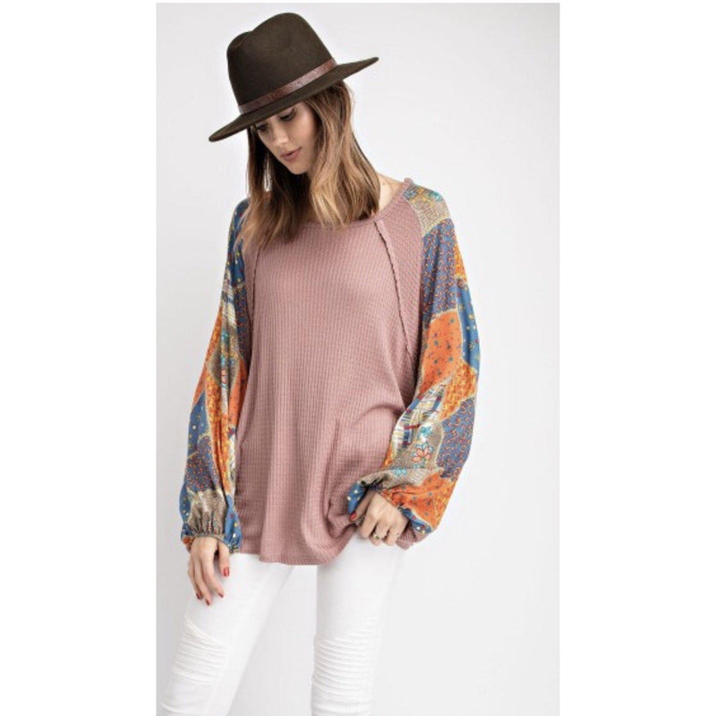 Mauve thermal shirt with print sleeves