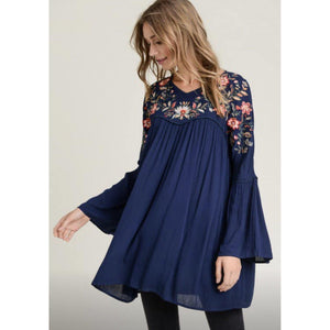Navy embroidered flower tunic