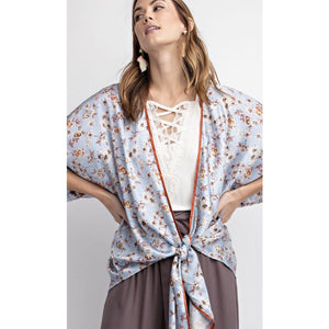 Light Blue Satin Tie Waist Jacket