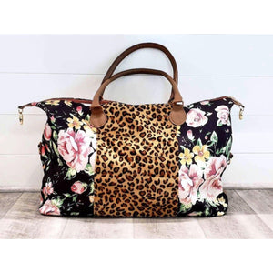 Leopard and floral print weekender travel bag