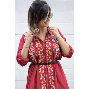 Burgundy embroidered shirt dress