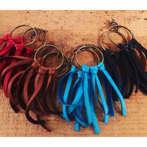 Leather fringe hoop earrings-Womens-Eclectic-Boutique-Clothing-for-Women-Online-Hippie-Clothes-Shop