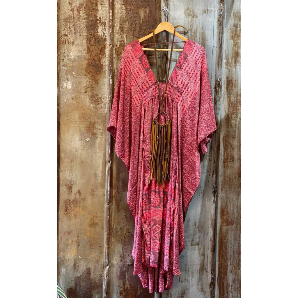 Glamorous Life Caftan ~ Rose' Print-Womens-Eclectic-Boutique-Clothing-for-Women-Online-Hippie-Clothes-Shop