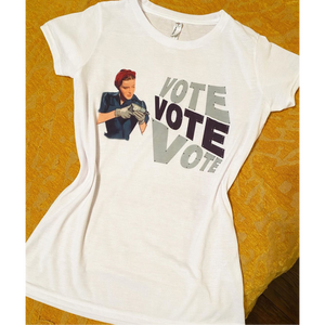 Rosie the Riveter Vote T-shirt-Womens-Eclectic-Boutique-Clothing-for-Women-Online-Hippie-Clothes-Shop