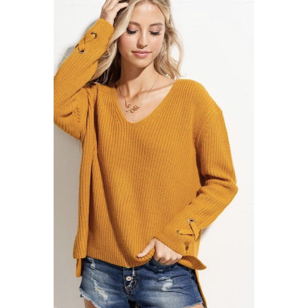 All Tied Up Mustard Yellow Sweater