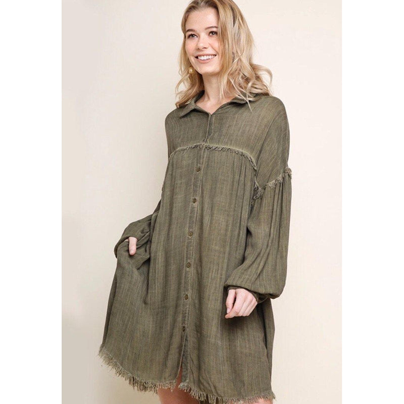 Olive green distressed shirt dress