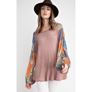 Mauve thermal shirt with print sleeves-Womens-Eclectic-Boutique-Clothing-for-Women-Online-Hippie-Clothes-Shop