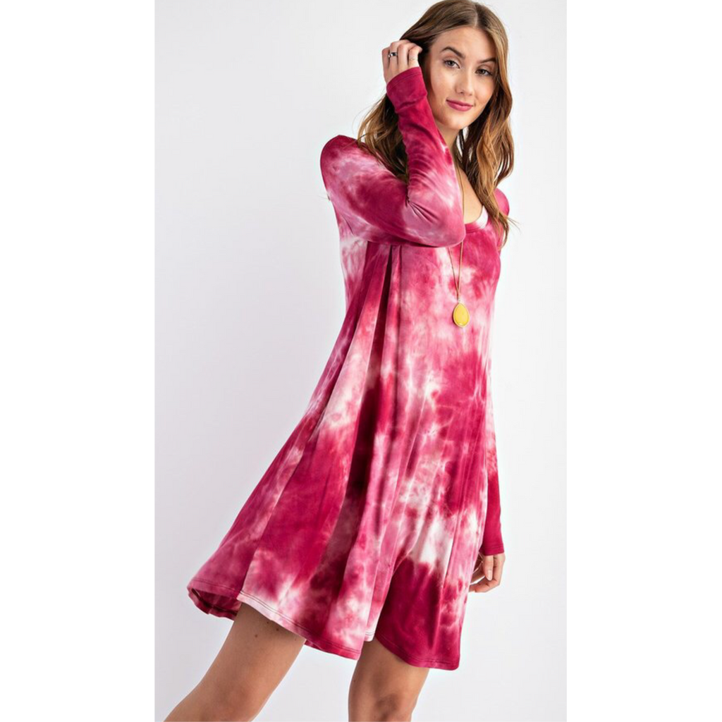 Cosmo cranberry tie dye dress-Womens-Eclectic-Boutique-Clothing-for-Women-Online-Hippie-Clothes-Shop