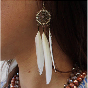 Free Spirit Feather Earrings-Womens-Eclectic-Boutique-Clothing-for-Women-Online-Hippie-Clothes-Shop