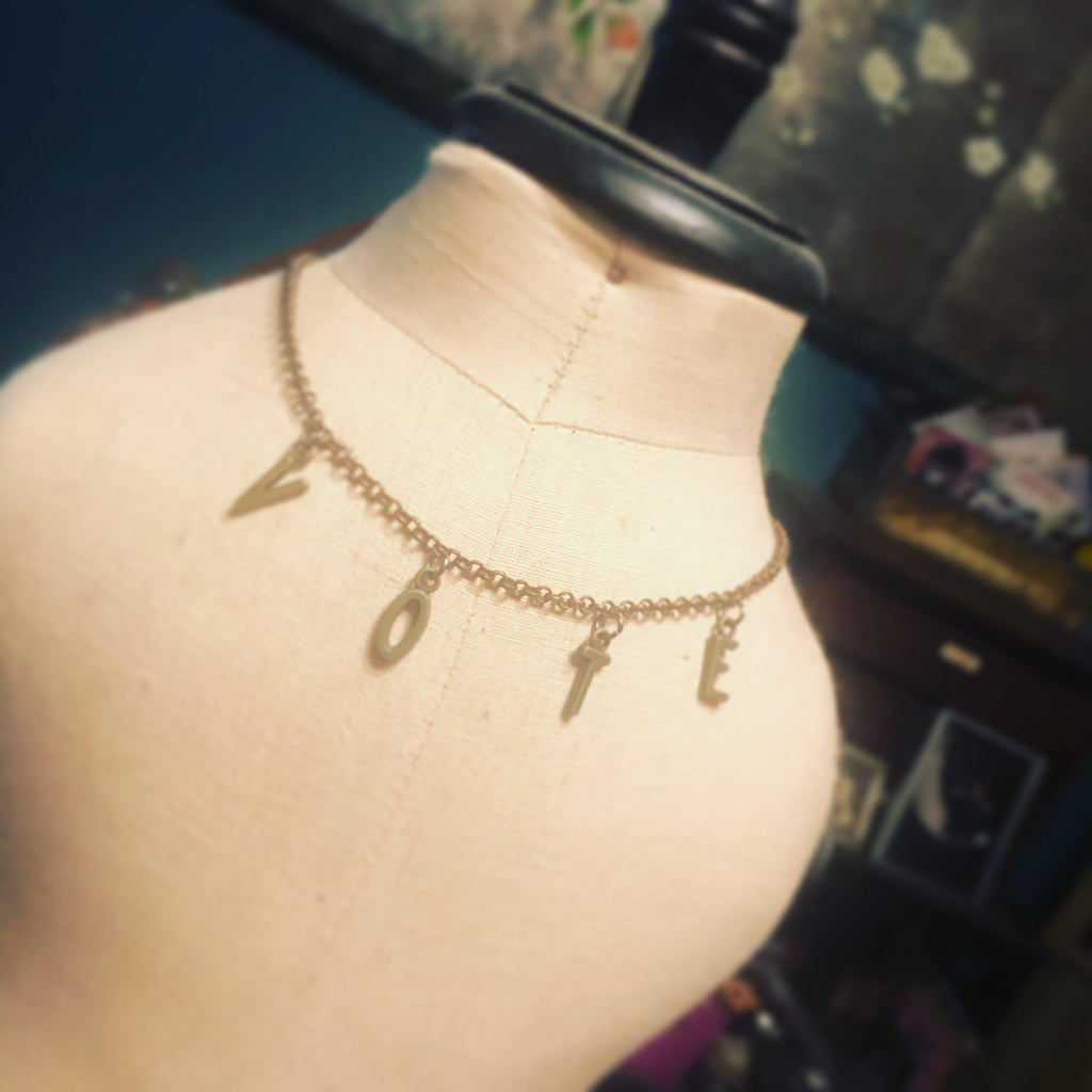 VOTE necklace-Womens-Eclectic-Boutique-Clothing-for-Women-Online-Hippie-Clothes-Shop