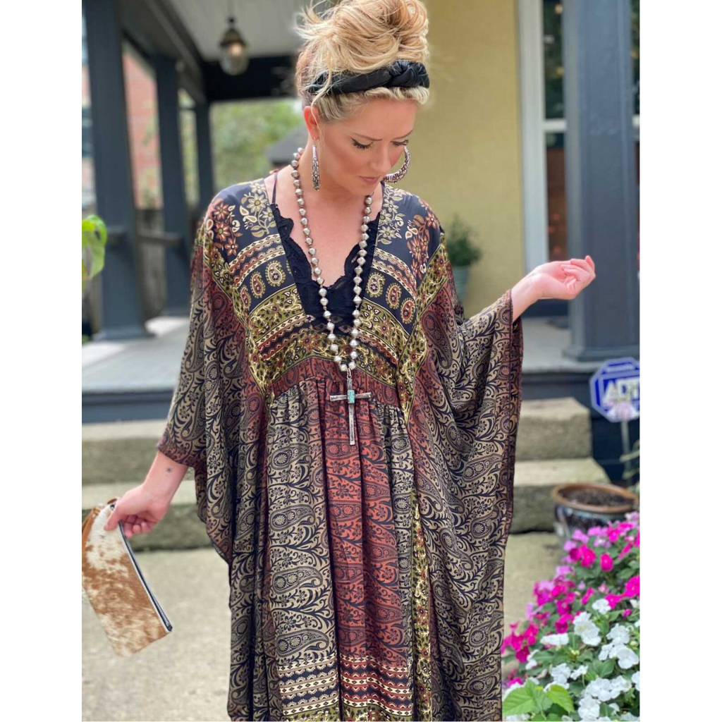 Glamorous Life Caftan ~ Cabernet-Womens-Eclectic-Boutique-Clothing-for-Women-Online-Hippie-Clothes-Shop
