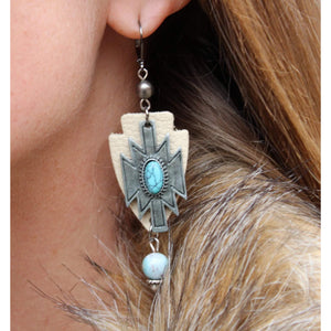 Aztec cross earrings-Womens-Eclectic-Boutique-Clothing-for-Women-Online-Hippie-Clothes-Shop