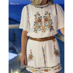 Vacation to Mexico Embroidered Dress