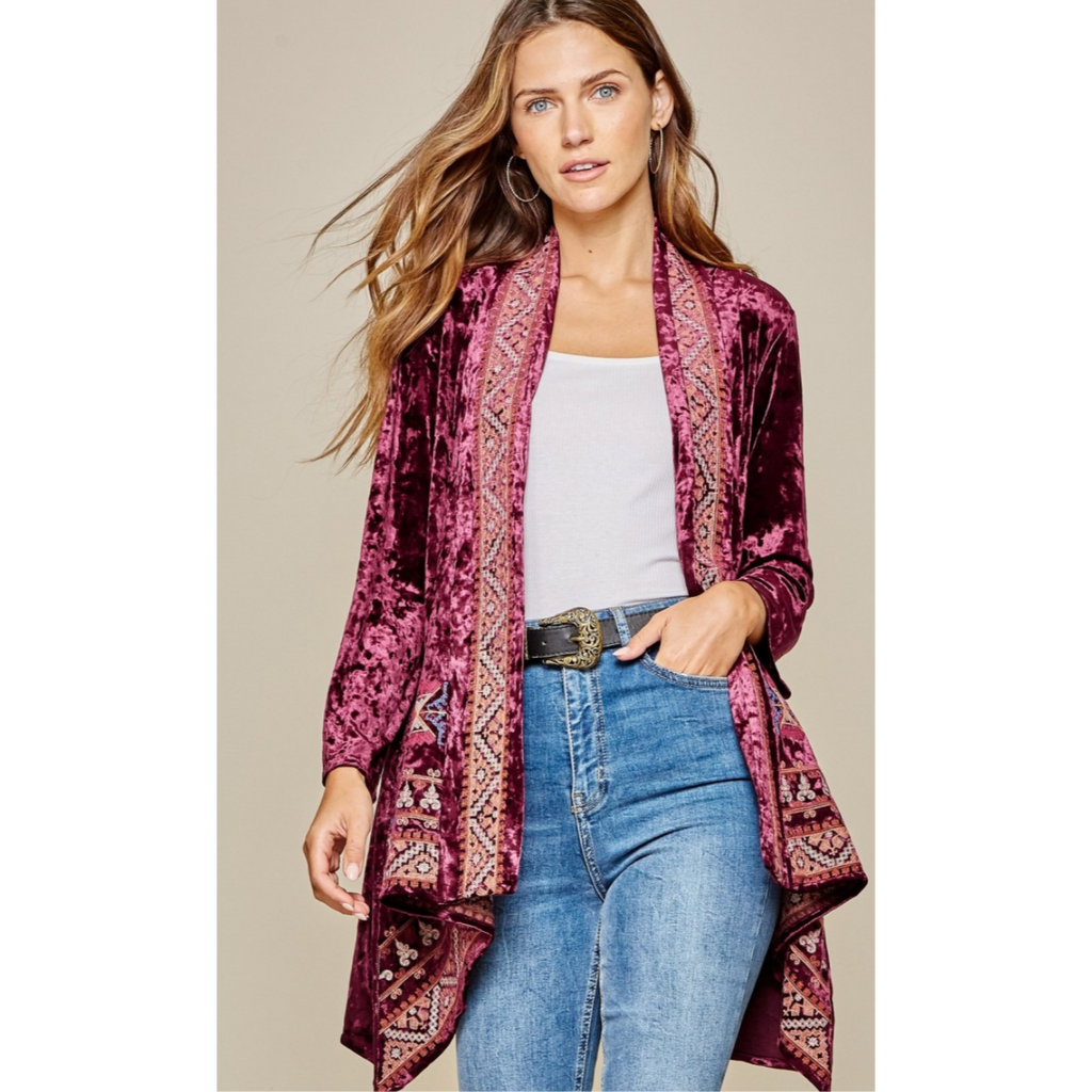 Cabernet Velvet Cardigan-Womens-Eclectic-Boutique-Clothing-for-Women-Online-Hippie-Clothes-Shop