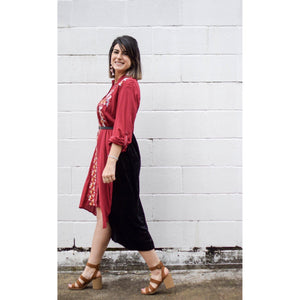Burgundy embroidered shirt dress-Womens-Eclectic-Boutique-Clothing-for-Women-Online-Hippie-Clothes-Shop