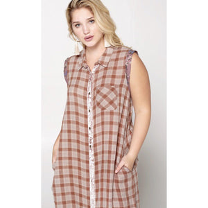 Pretty in Pink Plaid Dress/Duster-Womens-Eclectic-Boutique-Clothing-for-Women-Online-Hippie-Clothes-Shop