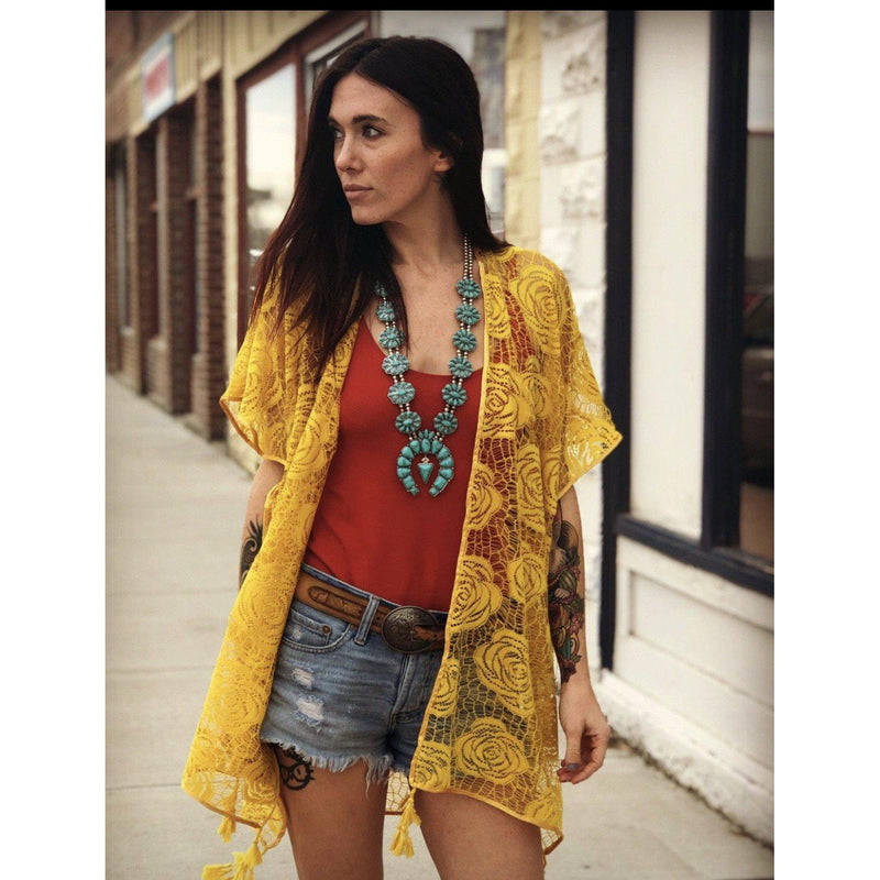Yellow Rose Lace Cardigan