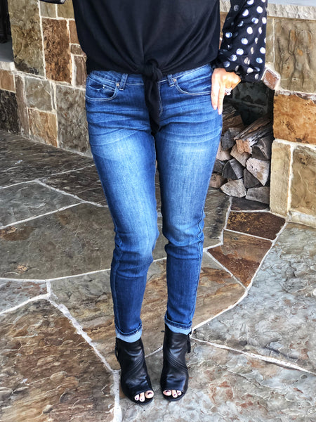 Washed Denim Mid Rise Skinny Jeans