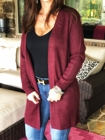 Burgundy - ribbed cardigan