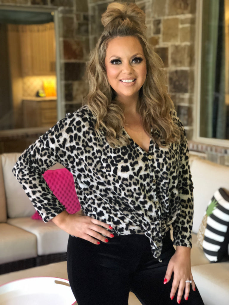 Cheetah Print Knit Button Down Top