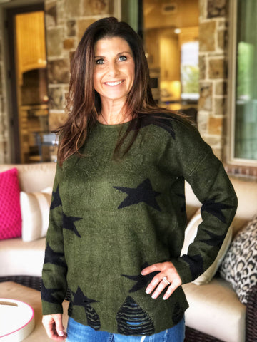 Army Green Star Sweater