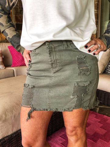 Green - Mid Rise Distressed Frayed Hem Stretch Skirt