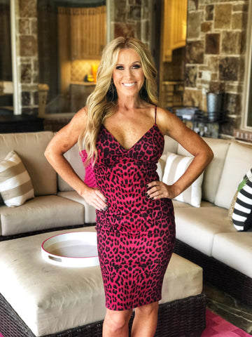 Red Leopard body-con dress