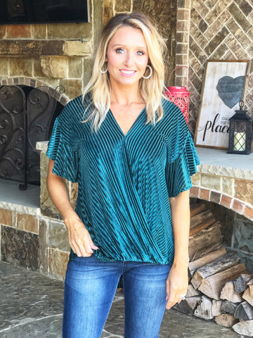 Sea Green - Flutter Sleeve Burn Out Velvet Top