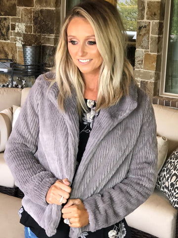 Super Cozy Grey Ribbed Jacket