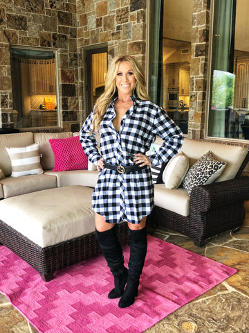 Black & White - Flannel Mini Dress