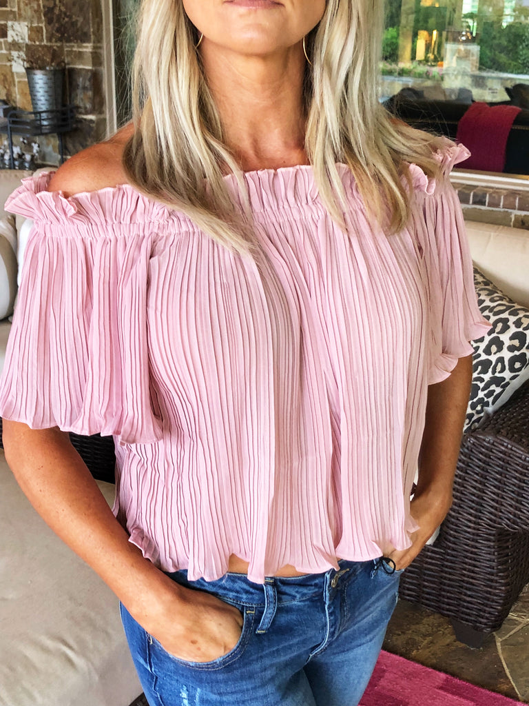 Blush - Off The Shoulder Crop Top