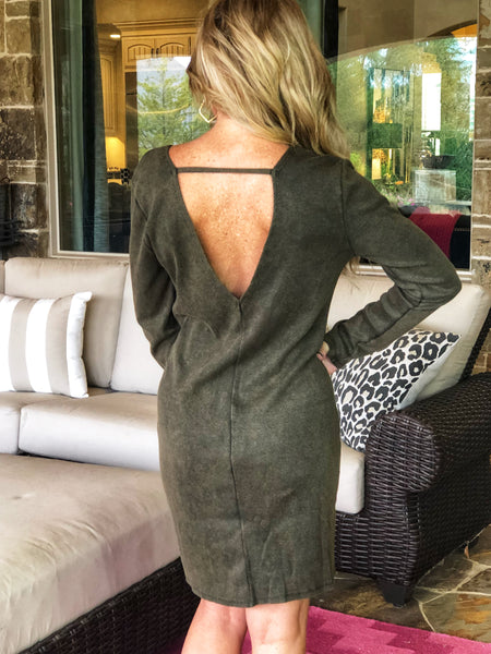 Dark Olive-ribbed knit dress with cut out back