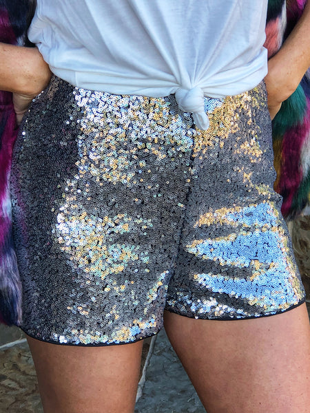 Silver - Sequin Shorts with side zipper